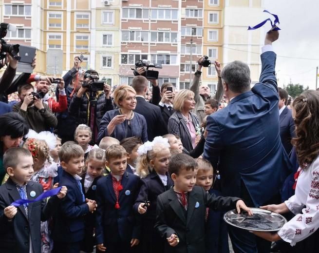 Poroshenko opens a school. 1 September, Pysochyn of Kharkiv region.