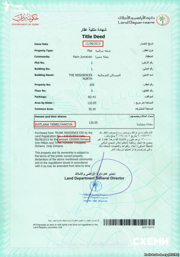 The excerpt from Dubai Emirate land registry confirms the purchase of the apartments.